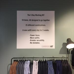 Decal on the wall at the Kit store explaining the 5 day wardrobe.