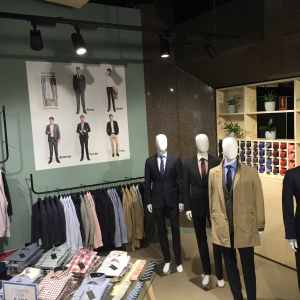 Mannequins and decal demonstrating the 5 day wardrobe in the Kit store.